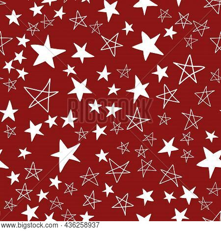 Seamless Pattern, Chaotically Scattered Stars, Red Maroon White Design Vector Illustration With Star