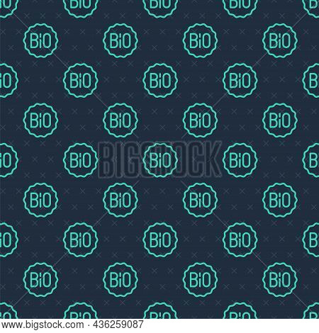 Green Line Banner, Label, Tag, Logo For Bio Green Healthy Food Icon Isolated Seamless Pattern On Blu