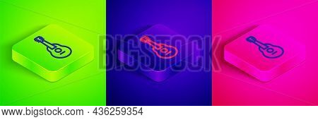 Isometric Line Guitar Icon Isolated On Green, Blue And Pink Background. Acoustic Guitar. String Musi