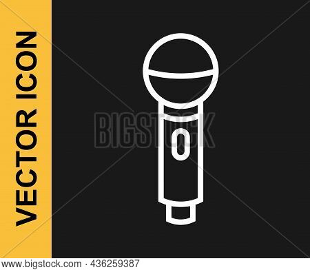 White Line Microphone Icon Isolated On Black Background. On Air Radio Mic Microphone. Speaker Sign.