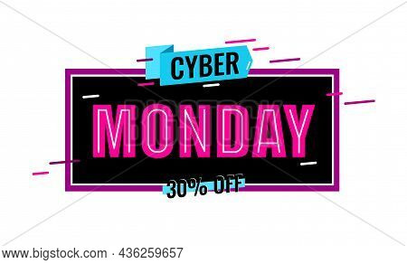 Cyber Monday Logo Design. Red Word Cyber Monday On Black Background With Line