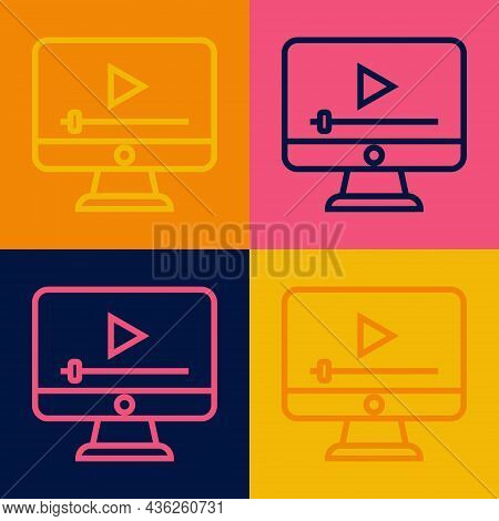 Pop Art Line Online Play Video Icon Isolated On Color Background. Film Strip With Play Sign. Vector