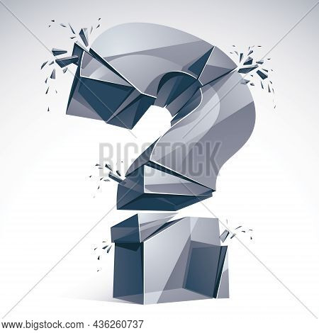 Broken Question Mark Exploding, Query Breaking To Pieces, Vector 3d Realistic Illustration. Special