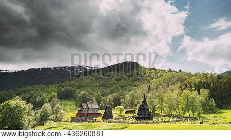 Borgund, Norway. Famous Landmark Stavkirke An Old Wooden Triple Nave Stave Church In Summer Day. Bri