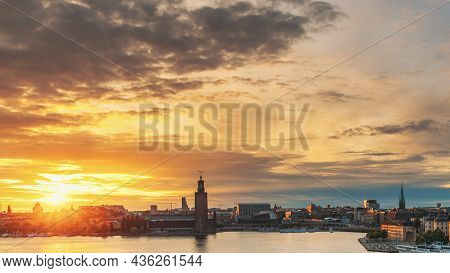 Stockholm, Sweden. Skyline Cityscape Famous View Of Old Town Gamla Stan In Summer Evening. Famous Po
