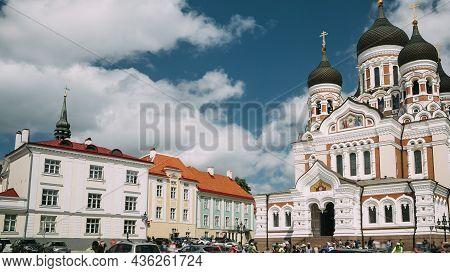 Tallinn, Estonia. Alexander Nevsky Cathedral. Famous Orthodox Cathedral. Popular Landmark And Destin