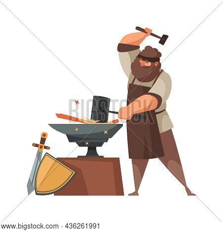 Medieval Blacksmith Making Swords And Shields On Anvil Cartoon Vector Illustration