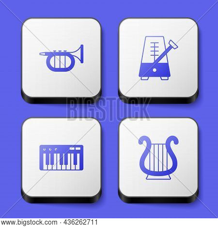 Set Trumpet, Metronome With Pendulum, Music Synthesizer And Ancient Greek Lyre Icon. White Square Bu