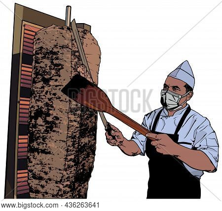 Cook Preparing A Turkish Doner Kebab - Colored Illustration Isolated On White Background, Vector