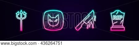 Set Line Trident Devil, Black Cat, Bloody Knife And Tombstone With Rip Written. Glowing Neon Icon. V