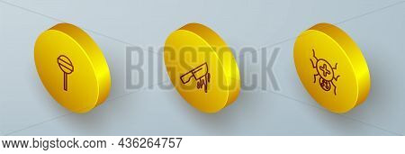 Set Isometric Line Lollipop, Bloody Knife And Spider Icon. Vector