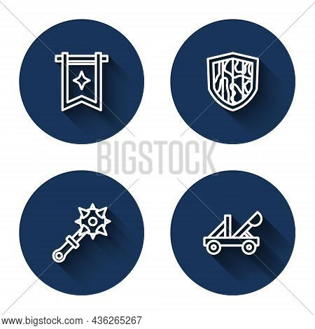 Set Line Medieval Flag, Shield, Mace With Spikes And Catapult With Long Shadow. Blue Circle Button.