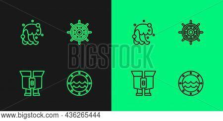 Set Line Ship Porthole, Binoculars, Tsunami And Steering Wheel Icon. Vector