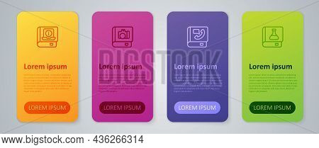 Set Line Phone Book, Chemistry, User Manual And Photo Album Gallery. Business Infographic Template.