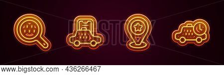 Set Line Search Taxi, Taxi Mobile App, Location With Star And Waiting Time. Glowing Neon Icon. Vecto