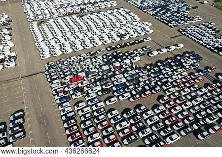 Odessa, Ukraine - August 11, 2021: Aerial View From Drone To Automobile Customs Terminal. Large Numb