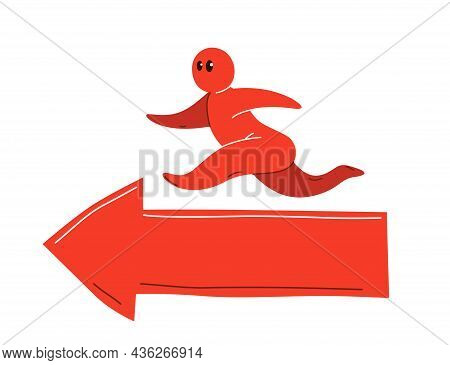 Funny Cartoon Man Running On A Arrow Vector Flat Style Illustration Isolated On White, Concept Caree