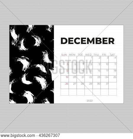 Desk Calender 2022, December Month Template, Calendar 2022 Template, Planner, Simple,