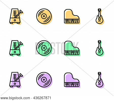 Set Line Grand Piano, Metronome With Pendulum, Vinyl Disk And Guitar Icon. Vector
