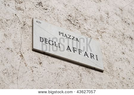 Finance concept, Piazza Affari sign in Milan, Italy.