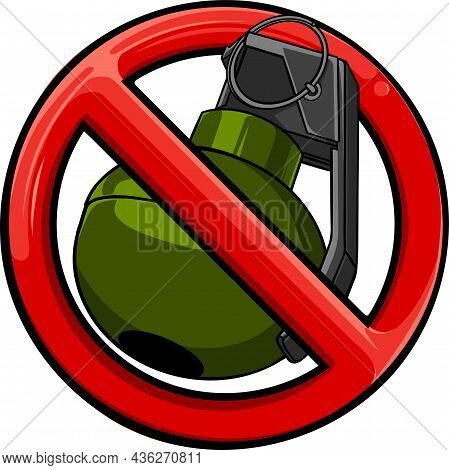 Bomb Ban Outline Vector Icon. No War. Prohibition Sign. Restriction Symbol.