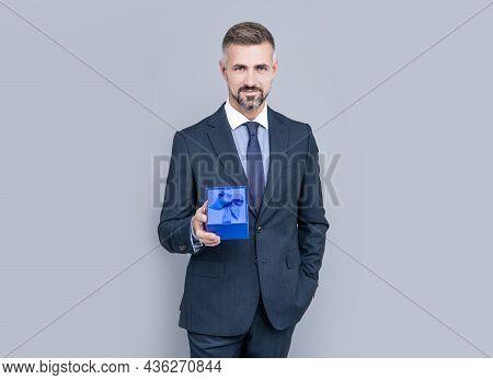 Confident Businessman Man In Businesslike Suit Share Gift Box, Business Reward