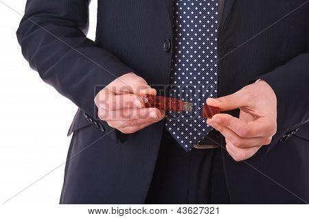USB flash drive in Businessman hands.