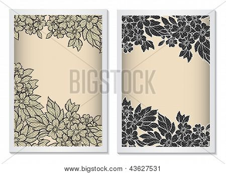 Invitation Card Template Vertical With Lace