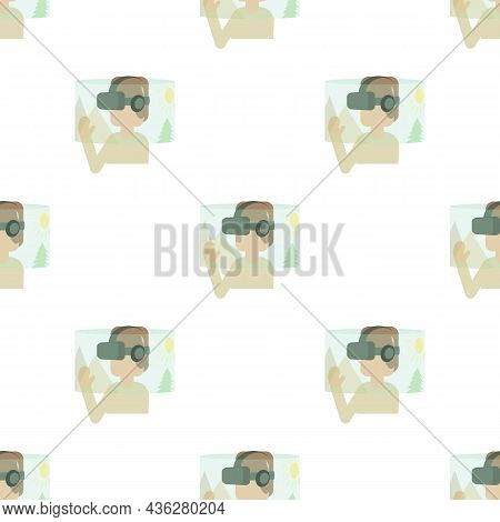 Virtual Reality Headset Pattern Seamless Background Texture Repeat Wallpaper Geometric Vector