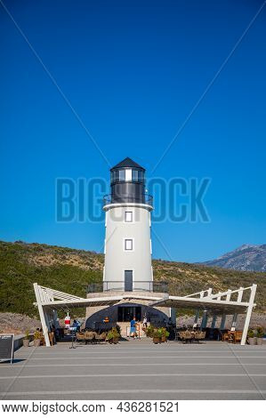 Lustica Bay, Montenegro - October 1, 2021: Lighthouse With Restaurant At Lustica Bay In Montenegro