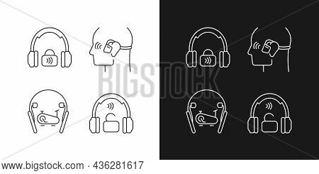 Wireless Headphones Linear Icons Set For Dark And Light Mode. Professional On Ear Headset. Handsfree