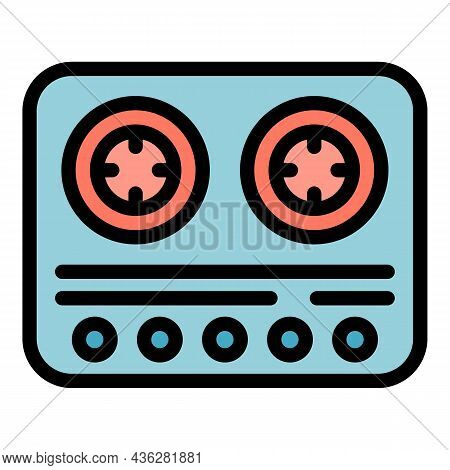 Cook Gas Stove Icon. Outline Cook Gas Stove Vector Icon Color Flat Isolated