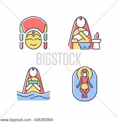 Nepal Spiritual Heritage Rgb Color Icons Set. Kumari Living Goddess. Baby Naming Tradition. Meditati