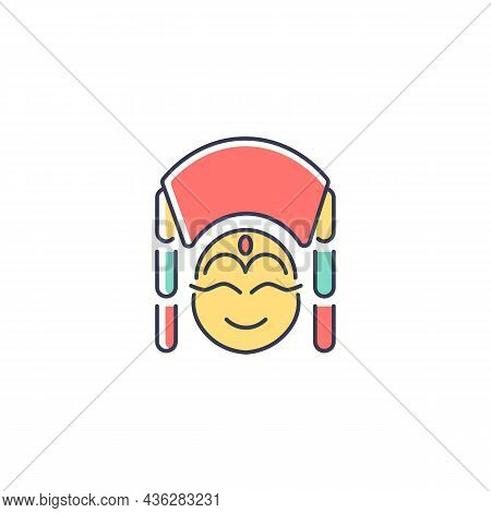 Kumari Rgb Color Icon. Hindu Goddess. Living Embodiment Worshipped By Buddhists. Girl In Traditional