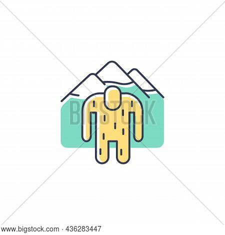 Yeti Rgb Color Icon. Mysterious Ape-like Creature. Nepali Folklore. Abominable Snowman Living In Him