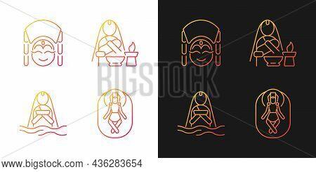 Nepal Spiritual Heritage Gradient Icons Set For Dark And Light Mode. Kumari Living Goddess. Thin Lin