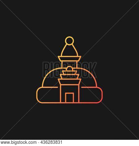 Swayambhu Stupa Gradient Vector Icon For Dark Theme. Monkey Temple. Shrine With Painted Buddha Eyes.