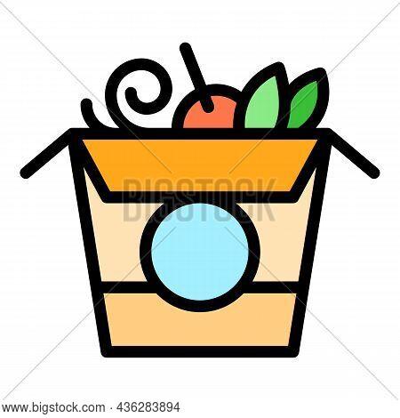 Wok Menu Food Box Icon. Outline Wok Menu Food Box Vector Icon Color Flat Isolated