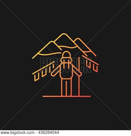Trekking In Nepal Gradient Vector Icon For Dark Theme. Mountaineering Destination. Hiking Through Hi