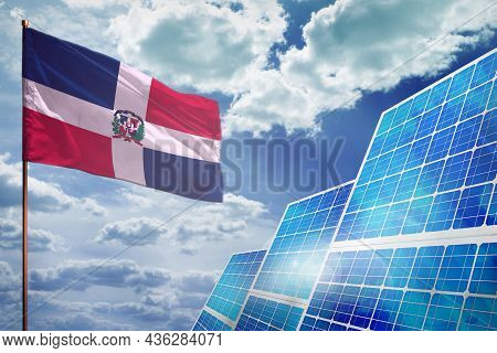 Dominican Republic Solar Energy, Alternative Energy Industrial Concept With Flag - Fight With Global