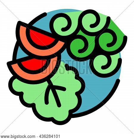 Vegetable China Food Icon. Outline Vegetable China Food Vector Icon Color Flat Isolated