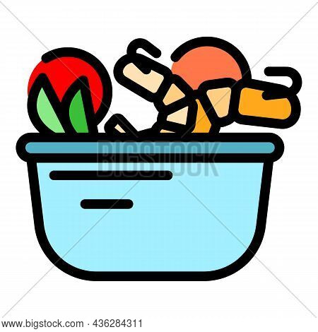 Wok Menu Cook Icon. Outline Wok Menu Cook Vector Icon Color Flat Isolated
