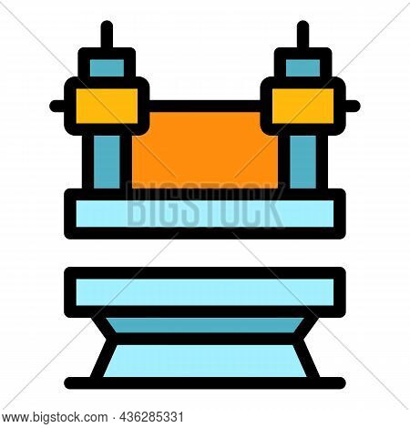Machine Press Power Icon. Outline Machine Press Power Vector Icon Color Flat Isolated