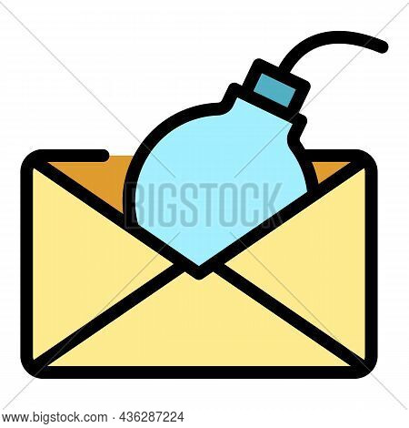 Bomb Envelope Icon. Outline Bomb Envelope Vector Icon Color Flat Isolated