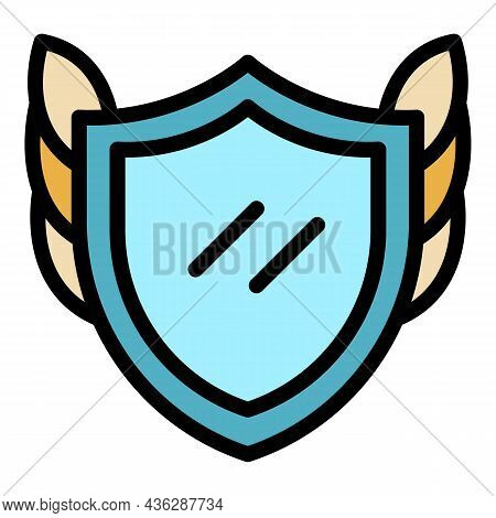 Shield Award Icon. Outline Shield Award Vector Icon Color Flat Isolated