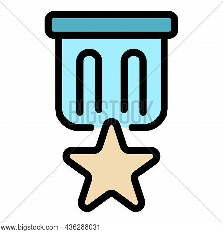 Star Badge Icon. Outline Star Badge Vector Icon Color Flat Isolated