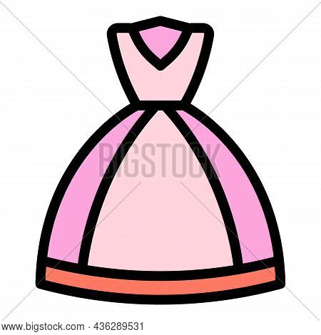 Party Wedding Gown Icon. Outline Party Wedding Gown Vector Icon Color Flat Isolated