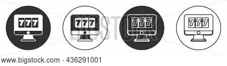 Black Online Slot Machine With Lucky Sevens Jackpot Icon Isolated On White Background. Online Casino