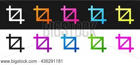 Set Picture Crop Photo Icon Isolated On Black And White Background. Vector