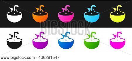 Set Washbasin Icon Isolated On Black And White Background. Barber Washing Chair With Washbasin. Hair